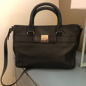 Kate Spade Black Leather Tote with Bow